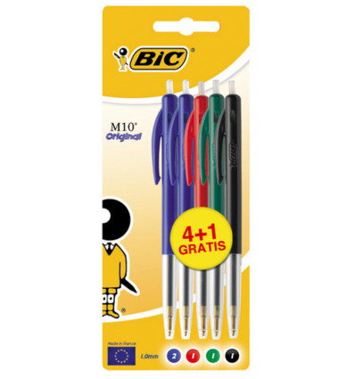 Bic M10 Balpen Medium Original Assorti 4+1 Gratis