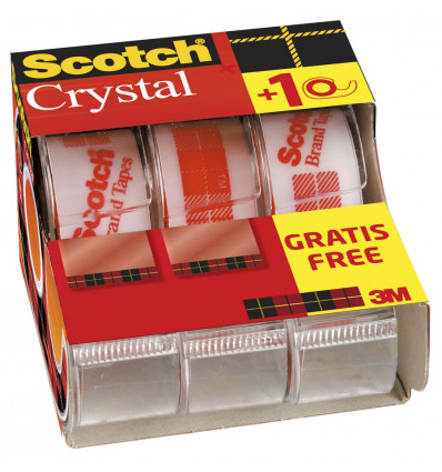 Scotch Kleefband Crystal Caddypack 2+1 19mmx7.5m