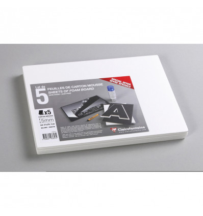 Clairefontaine Foam Board A4 Wit 5 mm - 160 g - 5 vel