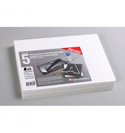 Clairefontaine Foamboard A4 Wit Carton Mousse - 10mm - 215gr - 5 Vel