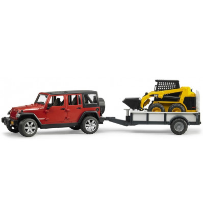 Bruder Jeep Wrangler Unlimited met CAT compactlader op trailer