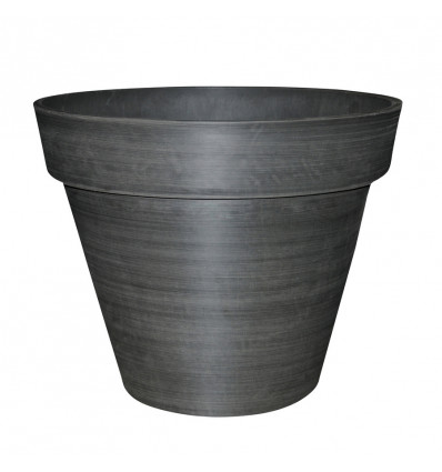 BLOEMPOT WOODSTONE ROND MET BOORD BRUSHED CHARCOAL DIAM.45CM X H.40CM