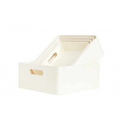 OPBERGBOX HOUT - VIERKANT - NATUUR COSY&TRENDY - 22X22X8CM