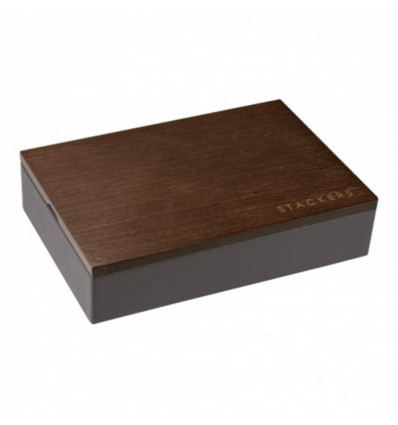 JUWELENBOX CUFFFLINK FOR MEN - MINI-WOODSTACKERS - 18X12.5X4.5CM - CHARCOAL GREY
