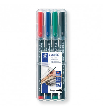 STIFT S PERMANENT 0,4 MM - LUMOCOLOR SET VAN 4 - R/BL/ZW/GR