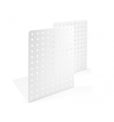 BOEKENSTEUN SET - DOTS - 14x12x18.5cm TRENDFORM - WIT