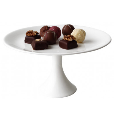 A TABLE - CAKE PLATEAU OP VOET WHITE - 21X11cm - BONE CHINA