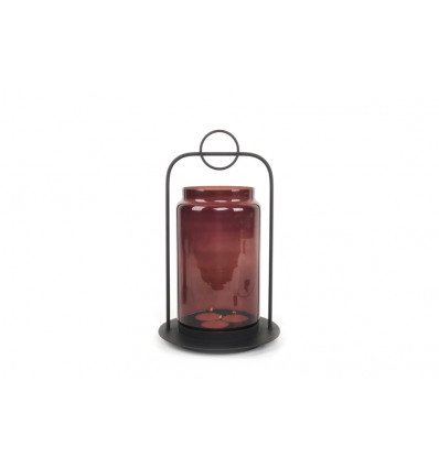 THEELICHTHOUDER HALO LARGE - GLAS XL - 45x26cm - BLACK/RED