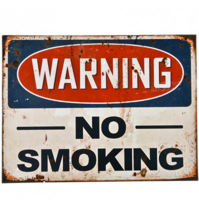 MUURKADER - WARNING NO SMOKING - METAAL 30x40x0.5cm