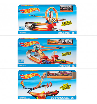Hot Wheels Race Trackset met auto, 3 ass.
