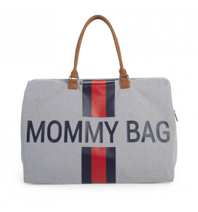 Childhome Verzorgingstas Mommy Bag Big Canvas Grey Stripes Red-Blue