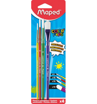 Maped Penselen Set 4 Stuks Synthetisch Blister