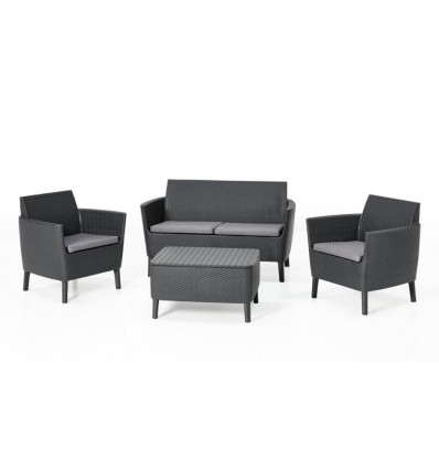 Allibert Loungeset Salemo Graphite met Opbergtafel