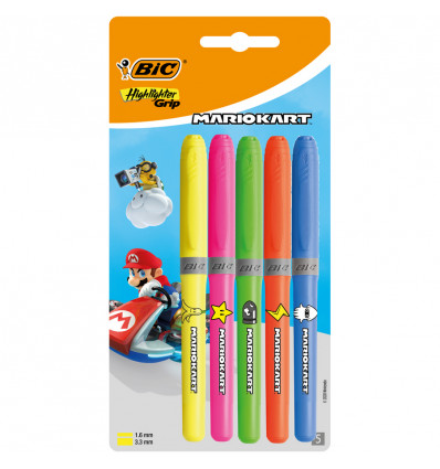 Bic Mario Kart Highlighter Set 5 Stuks Blister