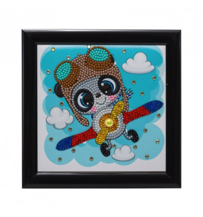 Craft Buddy Crystal Art Fremeables 16 x 16 cm, Panda in vliegtuig