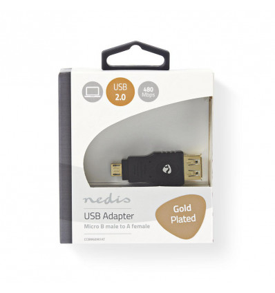 USB 2.0 Adapter micro B male - A female grijs