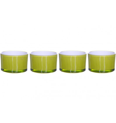 THEELICHTHOUDER ROND COSY&TRENDY - SET V/ 4 - 5X3 cm - GREEN