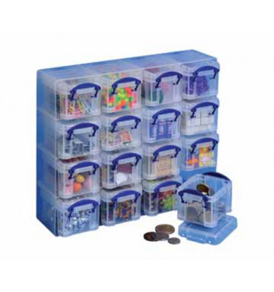 OPBERGDOOS 0.14 L - TRANSPARANT REALLY USEFUL BOXES - SET 16